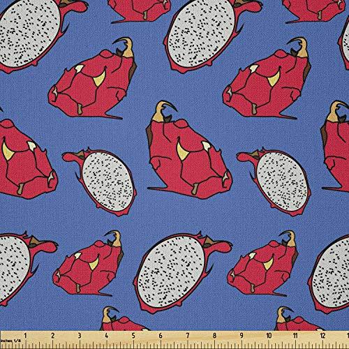 Lunarable Fruit Fabric by The Yard, Dragon Eye Exotic Vibrant Hawaiian Tropic Food Summer Season Tropical Image, Microfiber Fabric for Arts and Crafts Textiles & Decor, 2 Yards, Scarlet Azure Blue
