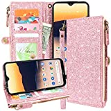 Lacass Premium Leather Flip Zipper Wallet Case Cover Stand Feature with Card Holder and Wrist Strap for Nokia 3.1A (AT&T) / Nokia 3.1C (Cricket Wireless) 2019 (Bling Rose Gold)