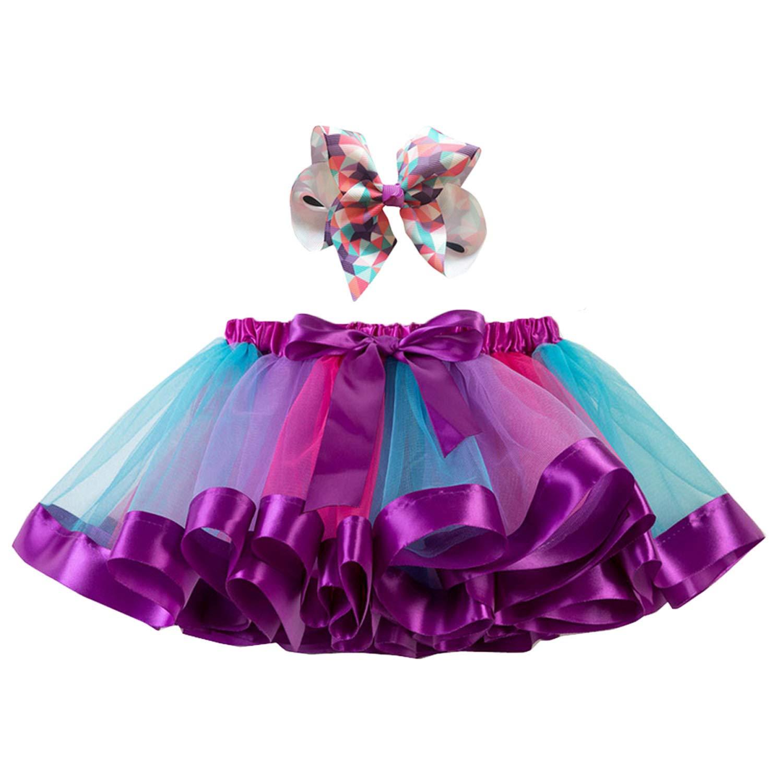 子供のチュチュスカート ゴシレ Gosear 子供女の子甘いカラフルなチュチュバレエダンススカート衣装ドレス用ちょう結び誕生日パーティースクールプレイクリスマスページェント衣装スタイルd