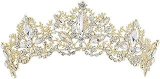 Sunshinesmile Crystal AB Flower Bridal Crown Tiaras Light Gold Diadem Tiaras for Women Bride Wedding Hair Accessories
