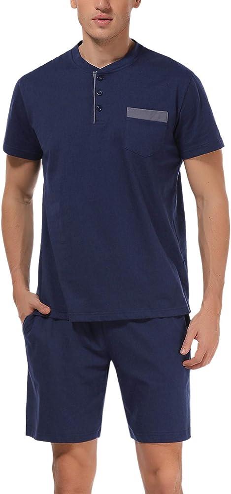 Hawiton, pigiama da uomo estivo, due pezzi,  100% cotone, blu scuro