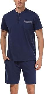 Hawiton Pijama de Verano Hombre Corto Ropa para Dormir de 100% Algodón Pijamas de Manga Corta 2 Piezas Camiseta y Pantalon...