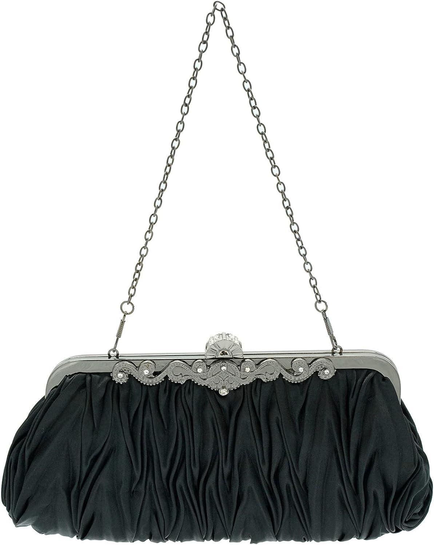 Ro Rox Lottie Retro Vintage Pleated Evening Clutch Handbag with Antique Clasp