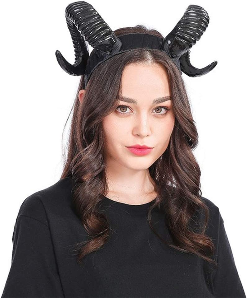 MagiDeal Ram Horns Headband Cosplay Fantasy Fancy Dress Sheep Goat Ears Accs