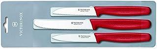 Victorinox 5.1111.3 Set de 3 Couteau d'Office, Acier Inoxydable, Rouge, 30 x 5 x 5 cm