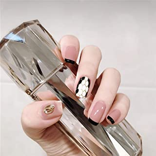 YienDoo False Nails Pink Golden Rhinestones and Black and White Honeycomb Square Head French Nails Full Cover Nail Tips Fa...