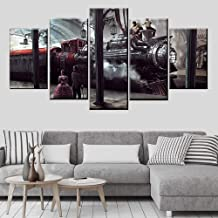 YK-GVOR Wall Art Canvas Painting 5 Panel Modern Home Art Deco Pictures 5 Pieces Train Poster Canvas Printing Train Station Locomotive and People Painting Frame