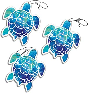 WIRESTER Hanging Air Freshener for Cars, Home, Bathroom, Office, Decorative Charm Ornaments 3-Pack, Blue Sea Turtle