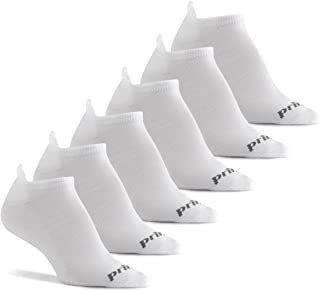 9-1.5 - White Stripes 6 Pair Pack Prince Girls Low Cut Athletic Socks for Active Kids