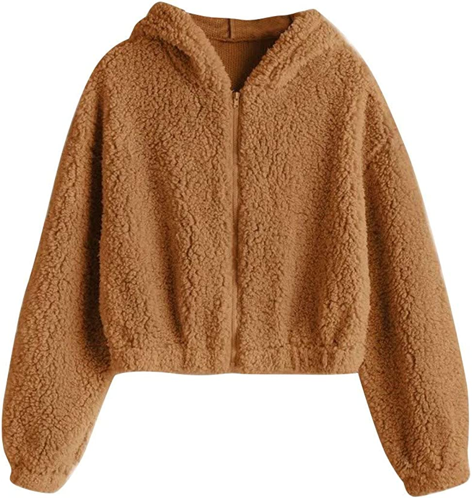 Women's Fuzzy Faux Fur Long Sleeve Pullover Crop Hoodie Sweatshirt Button Cropped Hooded for Girls