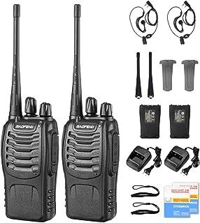 Radios de Comunicación Inalámbricos, BaoFeng Walkie Talkie 888s Recargable de Largo Alcance a Prueba de Lluvia, Altavoces ...