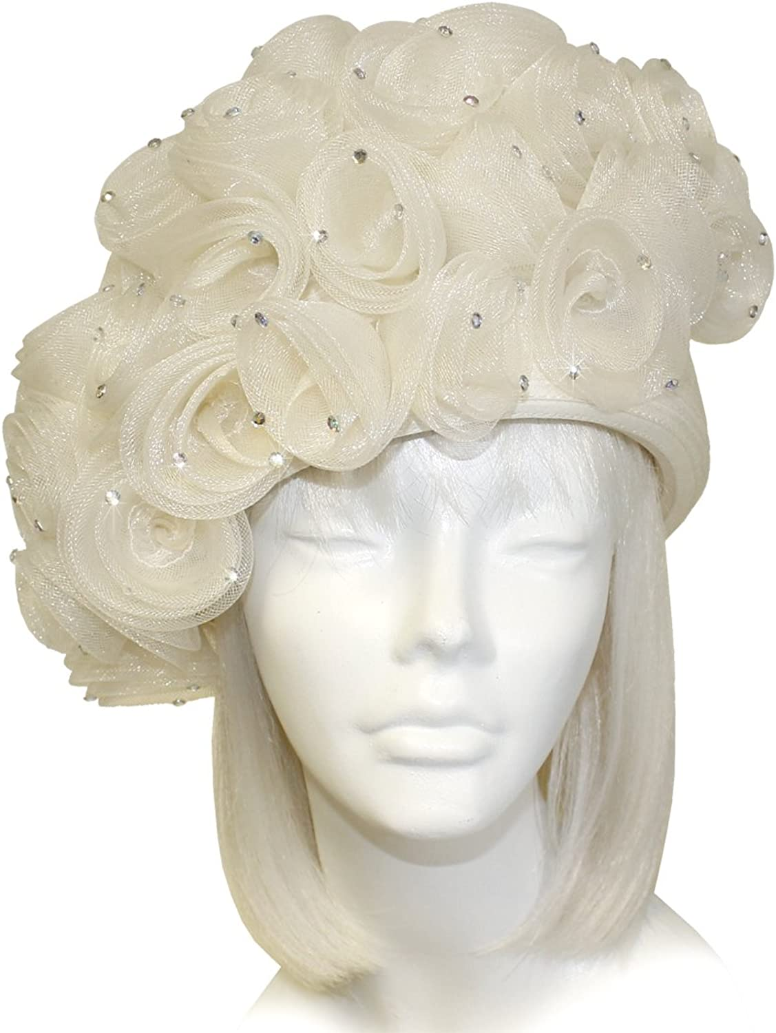 Mr. Song Millinery CRIN Hair Roesette Cloche Hat  Ivory Crème Q249