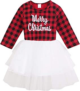 HAPPYMA Infant Baby Girls Christmas Dress Merry Christmas Red Plaid Tulle Lace Tutu Princess Dresses Xmas Outfit
