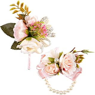 ANPHSIN Rose Boutonniere Handmade Slik Classic Artificial Flower Corsage and Pearl Stretch Bracelet Set for Groomsman, Best Man, Brides and Bridesmaid Wedding Prom Party Suit Decoration(Pink)
