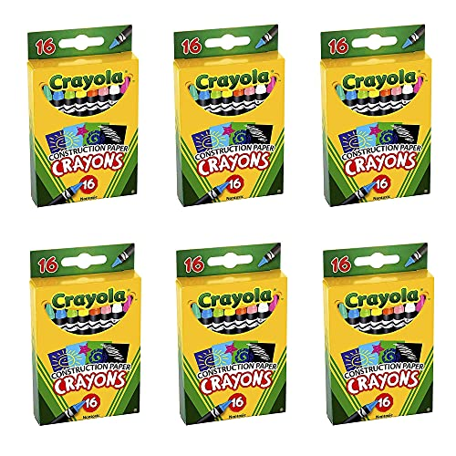 Construction Paper Crayons, Wax, 16/Pk, Sold as 6 Each