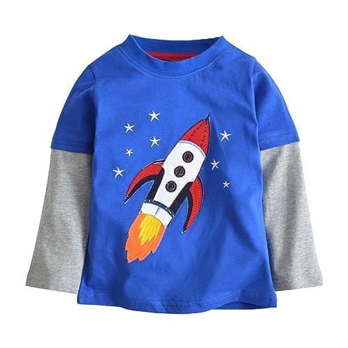 Qtake Fashion Boys Clothes Rocket Cotton Crewneck Long Sleeve Cartoon T-Shirt Kids Sweatshirt