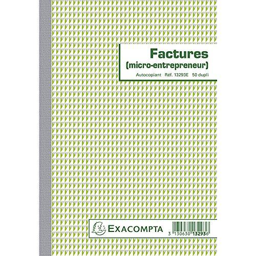 Exacompta 13293E Manifold Factures Micro entreprise 21 x 14,8 cm 50 feuillets Dupli autocopiants. Pour la réalisation de 50 factures.