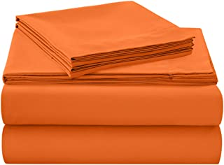 HollyHOME 1500 Soft Hypoallergenic Brushed Microfiber Bed Sheet Set, 3 Pieces Twin Size Sheets, Orange