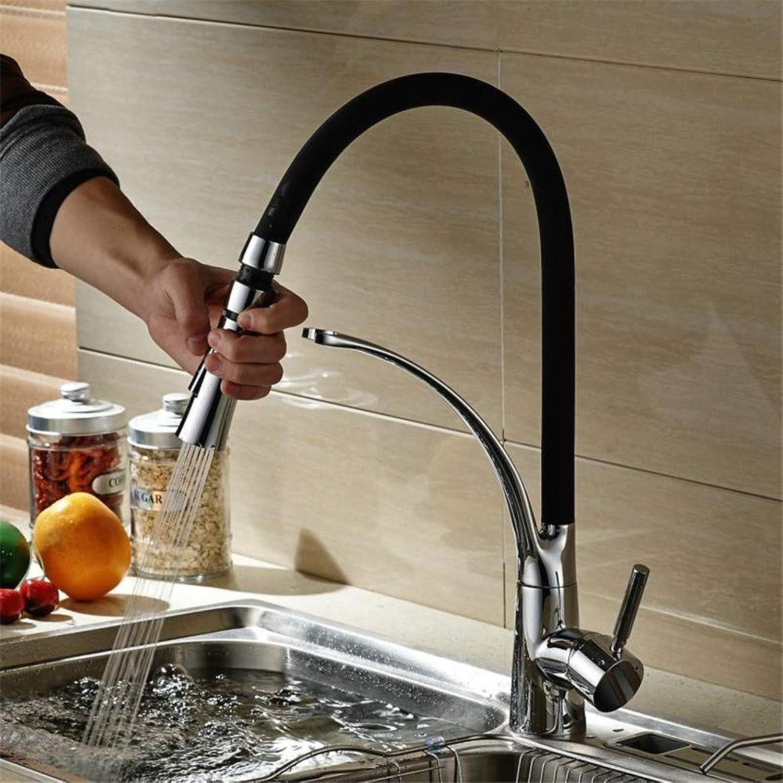 Willsego Wasserhahn Pull Down Küchenarmatur Deck Montiert Waschbecken Mischbatterie Heies und kaltes Wasser Schwarz Wasserhahn B-9205B (Farbe   -, Gre   -)