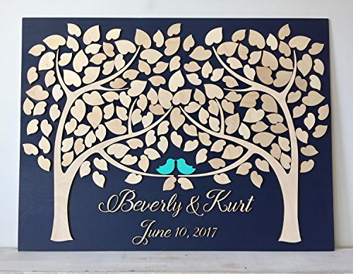 Mari57llis Wedding Guest Book Alternative 3D Guestbook Wood Tree of Hearts Two Trees Grow Into One Navy Blue Wedding Decor Rustic Guest Book