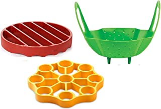 OXO Silicone Pressure Cooker Set 3 Piece Egg Steamer Basket Cooking Rack, Red Yellow Green