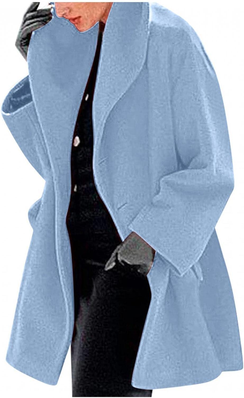 LEIYAN Fashion Woolen Trench Coat for Women Long Sleeve Notched Lapel Casual Oversized Fleece Jacket Cardigans Plus Size