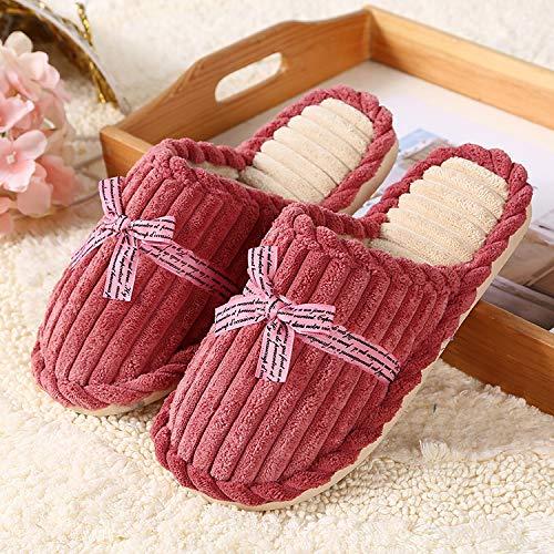 Qsy shoe Automne et en Hiver Velours côtelé Couple Chaud Coton Chaussettes Maison Mois Coton Femmes Pantoufles, jujube Rouge, 40-41 adapté pour 39-40 Pieds