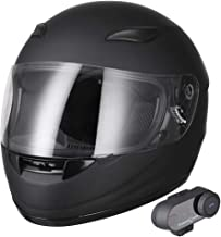AHR Bluetooth Motorbike Full Face Helmet Wireless Headset Helmet with Wireless Headset Intercom MP3 FM DOT