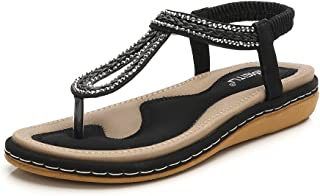 Meeshine Women's Bohemia Flip Flops Summer Beach T-Strap Flat Sandals Comfort Walking Shoes
