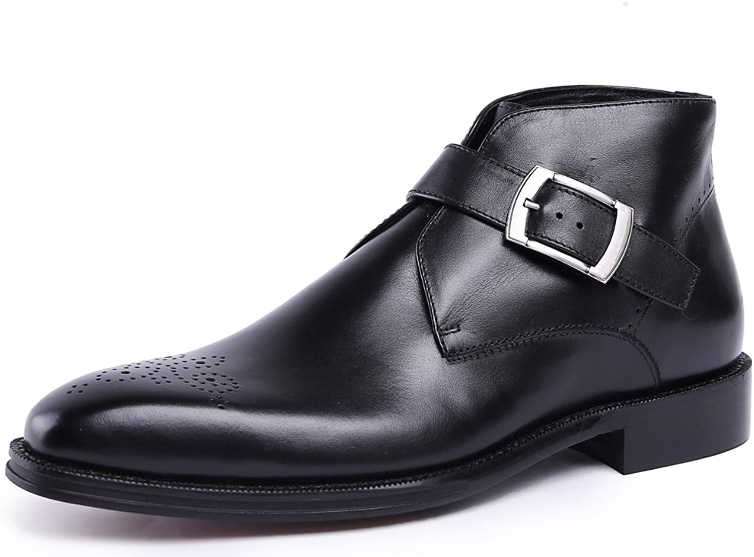 MedzRE Men's Monk Strap Formal Dress Oxford Buckle Ankle Boots