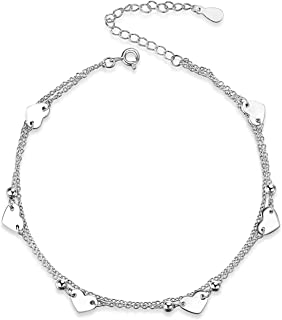 YFN Boho Beach Starfish Seashell Ankle Heart Charm Bracelet Sterling Silver Anklet Chain Bracelet Beach Foot Jewelry for W...