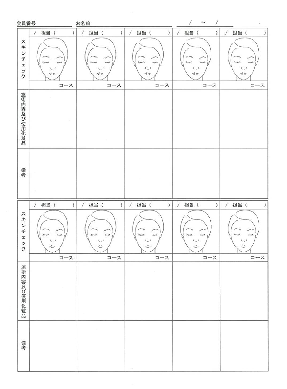 比較選挙別のスキンチェックカウンセリングカルテ A4判両面(50枚入)