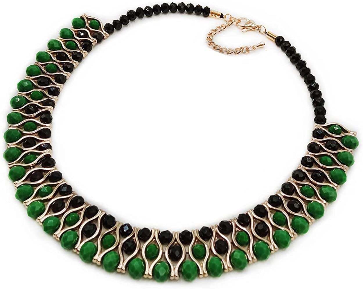 PLYOU Crystal Statement Necklace Rhinestone Collar Choker with Extension Chain Jewelry Gifts for Women Girls (Black&Jade)