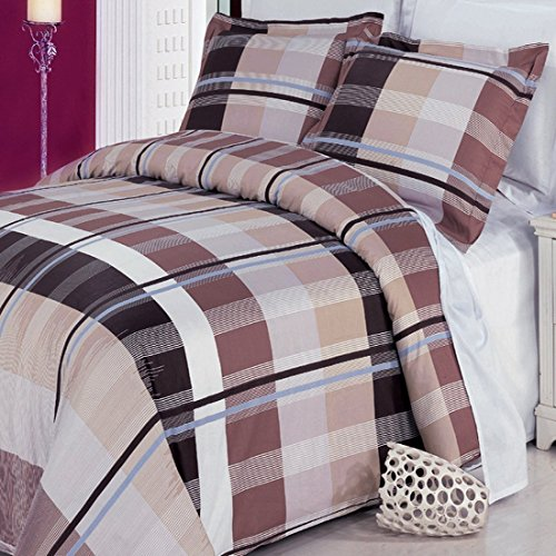 Us Price Plaid Beige Brown Duvet Cover Boys Mens Bedding