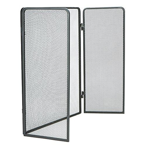 Mind Reader FIRESCREEN-BLK 3 Panel Fire Place Screen Door Panel with Double Bar Black Finish, Black