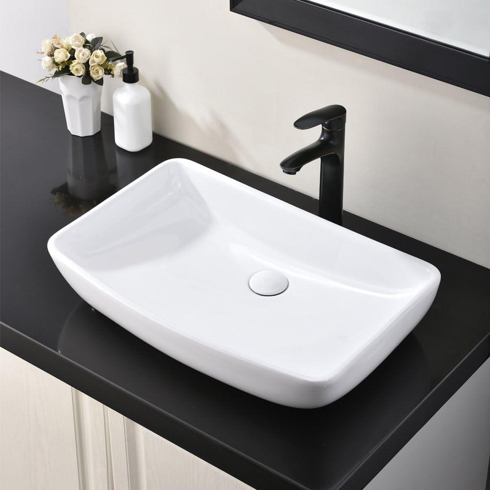 Buy Hotis White Round Above Counter Porcelain Ceramic Bathroom Countertop Bowl Lavatory Vanity Vessel Sink Online In Turkey B07vldclw7