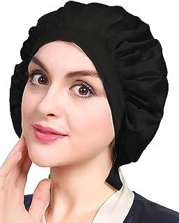 LilySilk(リリーシルク)天然シルク100% ナイトキャップ 枝毛防止 保湿美髪 ロングヘア用 お休みキャップ 就寝用 産後用 (1/4周ゴム/ブラック)