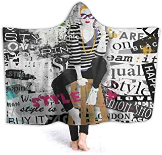 Stuffed Animal Blanket Fashion Girl Grunge Kids Huggable Pillow and Blanket Perfect for Pretend Play, Travel, nap time 80W by 60H Inches(with Hooded)