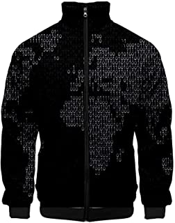 Holzkary Men's Fashion Map 3D Printed Casual Turn-Down Long Sleeve Shirts Top