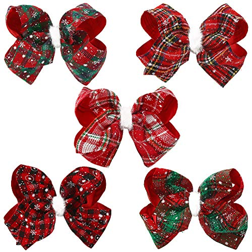 5 Pieces Christmas Large Hair Bow Clips Lattice Bow Hair Clips Christmas Bowknot Hairpins for Baby Girls Children Kids Women Hair Accessories