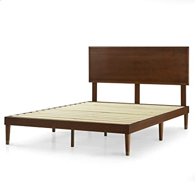 Zinus Deluxe Mid-Century Wood Platform Bed with Adjustable height Headboard, no Box Spring