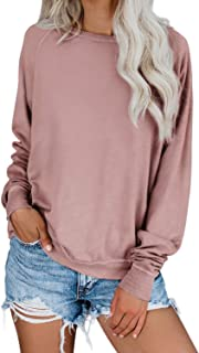 Womens Crewneck Long Sleeve Solid Color Loose Pullover Sweatshirt