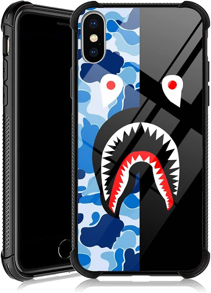 iPhone XR Case, Blue Black Shark iPhone XR Cases with 4 Corners Shockproof Protection Soft Silicone TPU Bumper and Hard PC Pattern Back Case for Apple iPhone XR