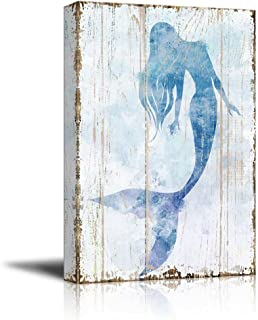 """Best wall26 - Mermaid Picture on Vintage Background - Canvas Art Wall Art - 12""""x18"""" Review"""
