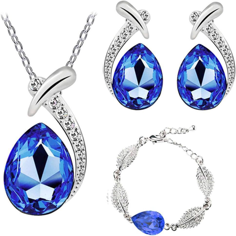 LFOEwpp7 Fashion Jewelry Set, Rhinestone Inlaid Water Drop Pendant Necklace Bracelet Earrings, Birthday Christmas Valentine's Day Decor Gift Royal Blue 3pcs