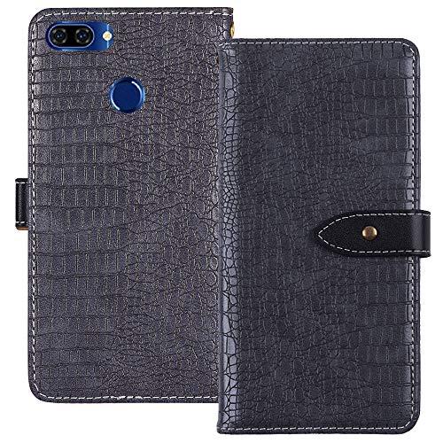 YLYT Flip TPU Silikon Hülle Etui Gray Leder Tasche Schutz Hülle Für OUKITEL U22 5.5 inch Handy Horizontale Standfunktion Magnetverschluss Strapazierfähiger Cover