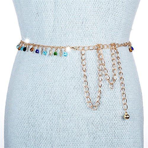 SAIBANGZI Femmes Ceintures Tendance en métal Personas Hollow Diamant Pendentif chaîne de Taille Robe Ceinture de Pantalon, Femme, Gold/Color, 60cm-93cm
