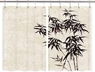 Japanese Zen Kitchen Curtains, Bamboo on Paper Asian Traditional Ink Painting Premium Decor Window Drapes Curtains 2 Panels, Upgrade Window Treatment Sets with Hooks, 55X39Inches