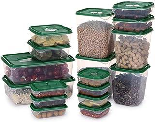 DZX 17 pièces/Ensemble boîte de Rangement des Aliments bac à légumes scellé Conservation du réfrigérateur boîte fraîche Or...