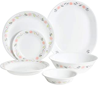 Corelle 2724451286254 Vitrelle 3-Layer Tangerine Garden 26 Pieces Dinner Set, White, Glass